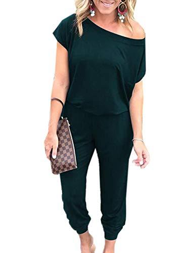 Ajpguot Monopezzi e Tutine da Donna Moda Tutine Intere di Colore Solido Pagliaccetti Lungo Casual Jumpsuits Sexy Senza Spalline Playsuits Manica