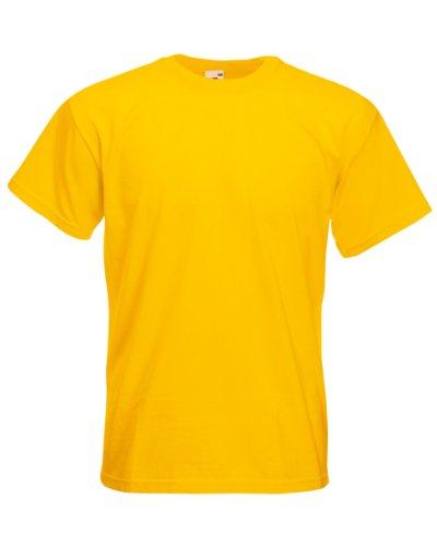 Gelb L/s Shirt (T-Shirt Super Premium von Fruit of the Loom S M L XL XXL 3XL verschiedene Farben L,Sonnenblumengelb)