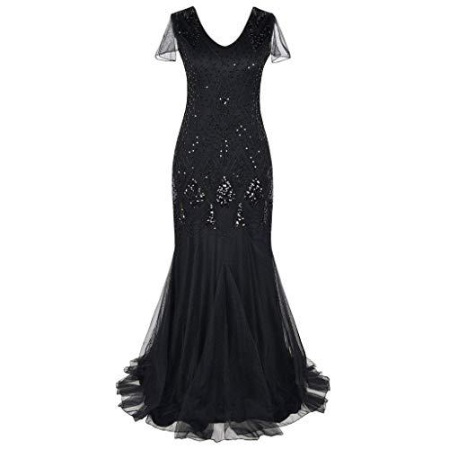 Chefkleid Kleid, Malloom Frauen Vintage 1920er Jahre Perle Fransen Pailletten Spitze Party Flapper Cocktail Abendkleid (Deluxe Pailletten Flapper Kostüm)