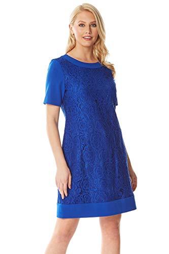 Roman Originals Damen Shift-Kleid mit Spitze in Blau - Royal Blue - Größe 40 - Royal Blue Kleid Shift