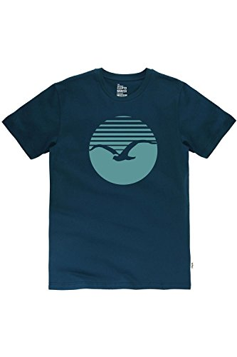 Cleptomanicx Big Sunrise T-Shirt Blau