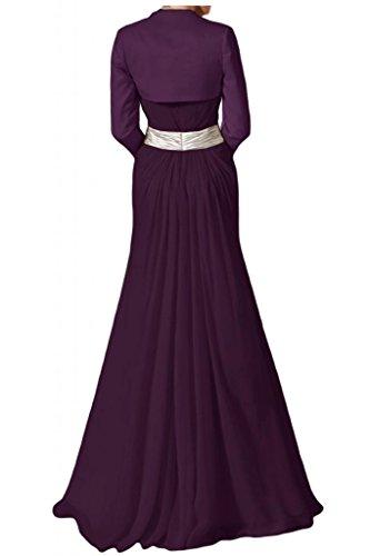 Toscana sposa stile piena Traeger Los Satin Bolero appendiabiti di lunghezza Chiffon madre della sposa abiti party Ball abiti da sera uva