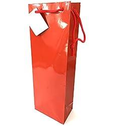 Extiff Lot de 10 Pochettes Cadeaux Sacs Bouteille de Vin et Champagne (Rouge)
