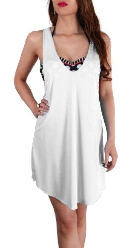 SODACODA Mesdames belle aérée loisirs de plage de dissimulation de bikini robe / Haut en couleurs rafraîchissantes - Taille (36-42) Blanc