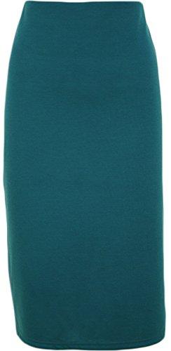 WearAll - Damen Übergröße Hinten Geschlitztes rock knielangen Gummizug - 5 Farben - Größe 40-54 Teal