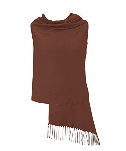 Pashminas & Wraps Schokoladenbraun Pashmina Stola Schal Tuch – 34 Schöne Farben Hergestellt in Italien - Super Weich – Exklusiv London - Luxuriös und Elegant