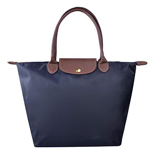 NOTAG Cabas Pour Femme, Imperméable Nylon Sac à Main de Voyage Fourre-tout Sac Avec Fermeture à Glissière (Bleu marin)