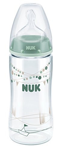 NUK 10216179 First Choice Plus PA-Flasche, 300 ml, mit Silikon-Trinksauger, Größe 6-18 Monate, M, Grün