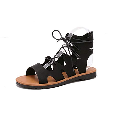 Sexy&live 2018 Summer Gladiator Rome Sandals Women Casual Flat with Shoes Fashion Lace Up Ladies Footwear Black Silver Hollow Out Black 9 -