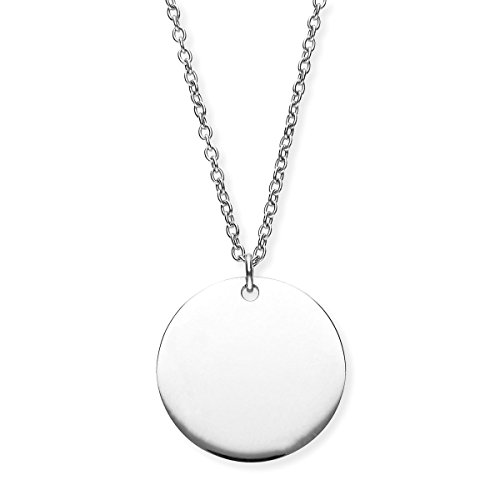 URBANHELDEN - Damen-Kette mit rundem Anhänger - Hals Kette Amulett aus Edelstahl - Small Silber