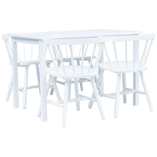 Tidyard 5-TLG.Essgruppe,Esstisch mit 4 Stühlen Mit gebogener Rückenlehne,Esszimmergarnitur Küchentisch Stuhl Tisch Set Esstischset Tischgruppe,Massives Gummiholz und Bugholz,MDF Tischplatte,Weiß -