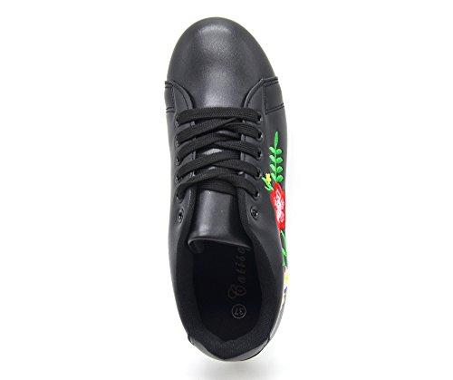 SHY45 * Baskets Tennis Sneakers Simili Cuir avec Broderie Fleurs et Bout Arrière Perforé (Noir) Noir