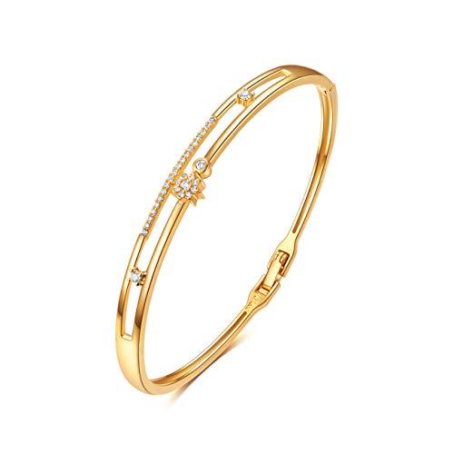 14K Gold Plattiert Armband, E Jewelry 14K Gold Plattiert Sterne Frauen Armband Armreif Damen Gold Armkette 3A Zirkonia Geburtstage Hochzeitstag Geschenke für Frauen Mama (Gold)