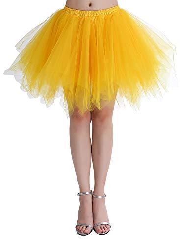 Übergröße Gelb Puffy Tüllrock Tütü Röcke Tüll Petticoat(MEHRWEG) ()