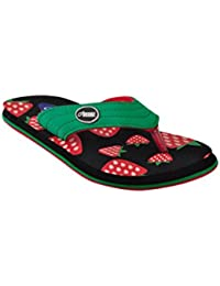 Beanz Straberry Wht/Blk/Green Slipper For Girls