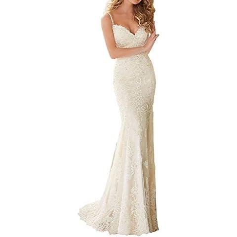 dressvip - Vestido de novia - Escotado por detrás - Sin mangas - Mujer
