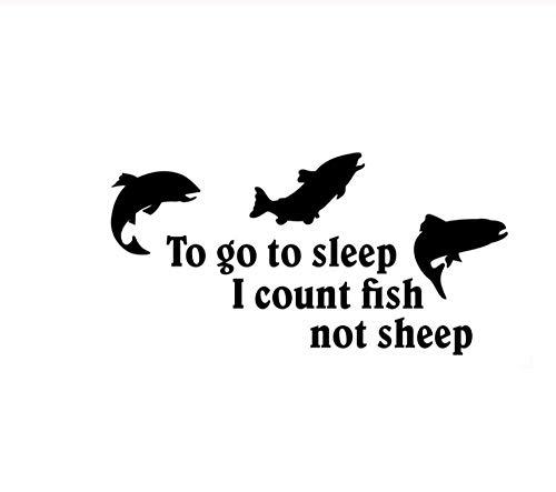 DDLLAN Auto Aufkleber Um schlafen zu gehen, zähle ich Fische Nicht Schafe Auto Aufkleber Vinyl 15,5 cm * 7,9 cm 2 Stück