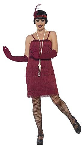 Smiffys 44675M - Damen Flapper Kostüm, Größe: 40-42, rot (Kostüm Schuhe Flapper)