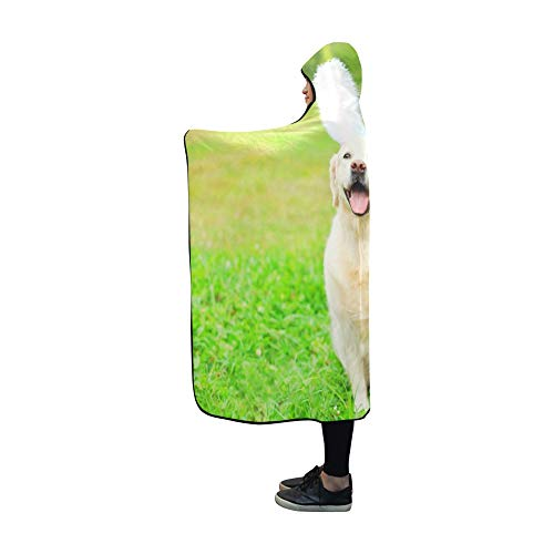 Plsdx Mit Kapuze Decke Happy Golden Retriever Hund Hasenohren Decke 60 x 50 Zoll Comfotable Hooded Throw Wrap -