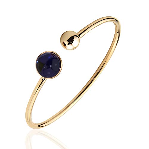 ArmreifDamenEdelstahlärmbänderDamenHandgefertigtVerschiedeneEdelsteineFarbenEdelsteineRosegoldArmbandFrauenSchmuck (Blau) - Rose Armband Armreif Gold