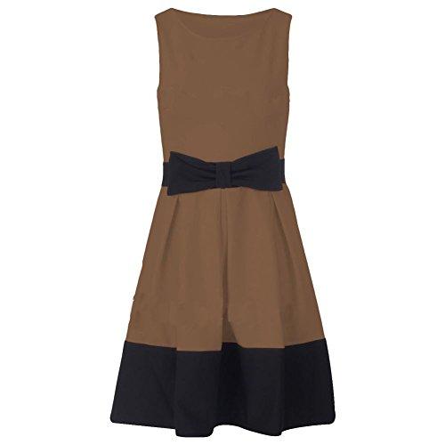 janisramone pour femme New Panneau de contraste Détail Nœud Mesdames Patineuse sans manches mini robe évasé plissé Moka