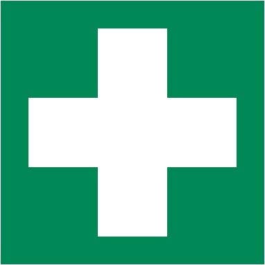 2 Stück Aufkleber Rettungszeichen Grün mit weißem Kreuz für Erste Hilfe Einrichtungen 10,5x10,5 cm -