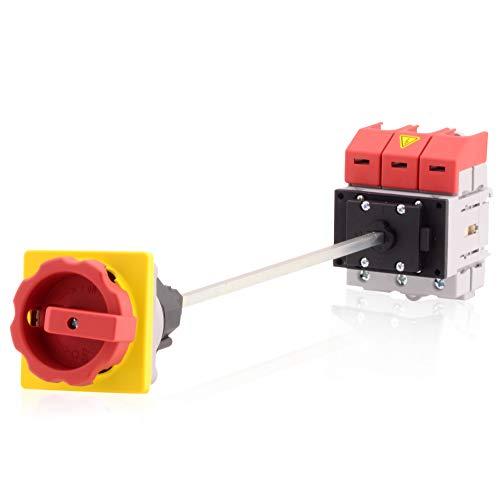 Hauptschalter Lasttrennschalter 3-polig 25A Bodenbefestigung Achsverlängerung Not-Aus-Schalter Premium Version VDE CE UL CSA -