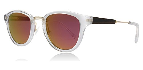 Shwood WAAC2R3P Crystal / Gold Crystal / Gold Ainsworth Round Sunglasses Polarised Lens Category 3 Lens Mirrored Size 49mm