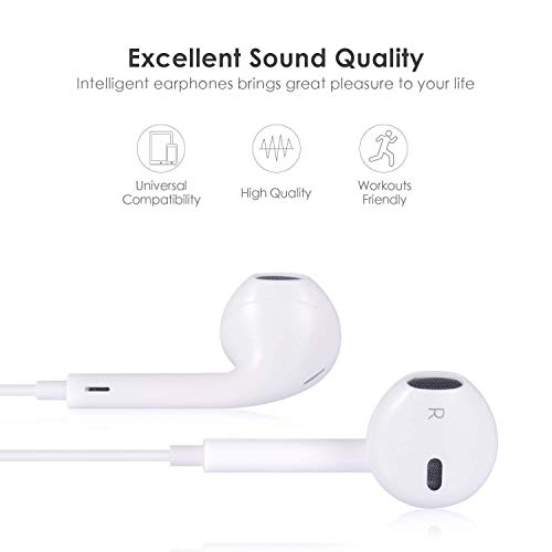 Ohrhörer mit Mikrofon und Fernbedienung, Premium Ohrhörer Stereo Kopfhörer für iPhone XS Max, XS, X, 8,7/8 Plus, 7 Plus (Weiß) - 7