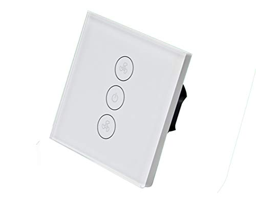 ZUZEN Fan Switch WiFi Wall Smart Touch Switch Wireless Remote Control Alexa Voice Control Panel Dimmer Home Office White