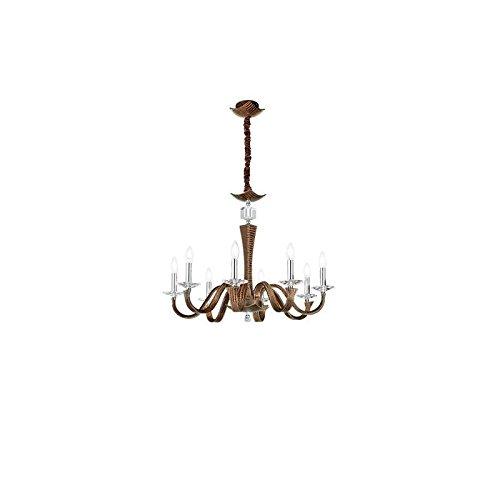 FAN EUROPE - Othello lampadario 8 luci ecopelle moro coccodrillo