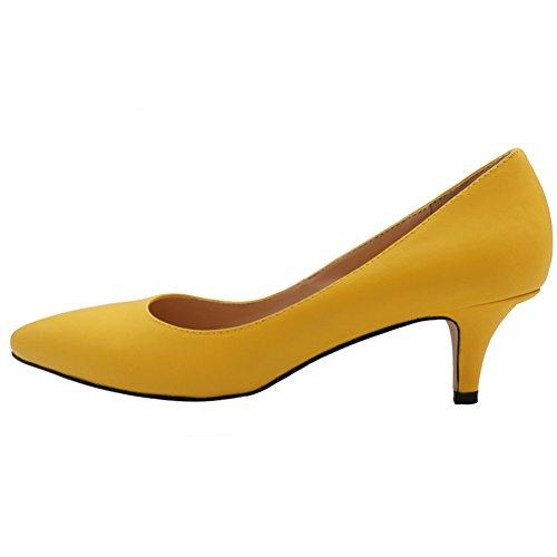 VOCOSI Damen Elegant Spitz Zehen-Pumps Kitten Mid Heel Leichte Modische B¨¹RO Schuhe M-Gelb 44 EU (Gelb Mitte Schuhe)