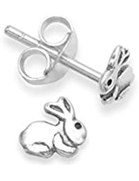 Heather Needham Sterling Silver Rabbit Earrings - SIZE: 5mm. Gift Boxed Rabbit stud Earrings. 5133/B41/HN