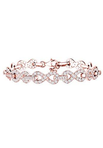 Elli Premium Damen Armband Kristall 925 Sterling Silber Zirkonia rosevergoldet Brillantschliff gold 18 cm 0203781615