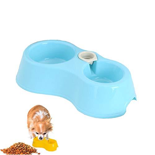 Tragbare Pet Feeder Schüssel Kunststoff Dual-Port-Automatik Feeder Wasser Trinken Fütterungs Becken Schalen für Katzen Haustiere ohne Flasche-blau