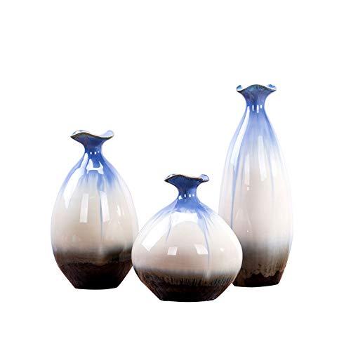 Hochtemperatur-Glasur-Glasur-Vase dreiteiliger Anzug Handgemalte Glasurfarbe ist eine extrem helle Blume