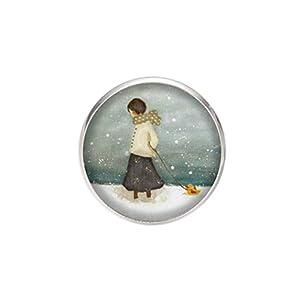 Edelstahl Brosche, Durchmesser 25mm, Stift 0,7mm, handgemachte Illustration Mädchen im Schnee