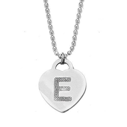Collana con ciondolo da donna in acciaio con cristalli con lettera iniziale - pendente a forma di cuore con lettera dell'alfabeto - collana con catenina lunga 90 cm - argento e cristalli (e)