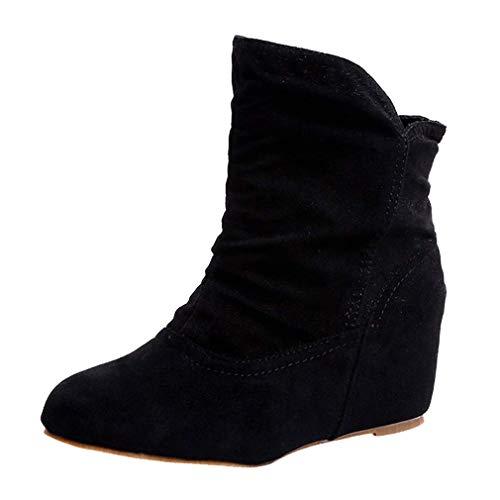 Botas de Cuña de Ante para Mujer Botines de Invierno Botas Martin Botas Cálidas de Invierno Zapatos...