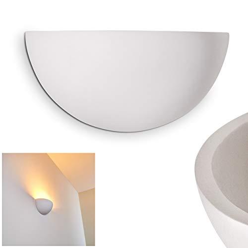 Wandleuchte Linares aus Keramik weiß, Wandlampe mit Lichteffekt für Flur, Wohnzimmer, Schlafzimmer - Diese Lampe ist mit handelsüblichen Farben bemalbar -