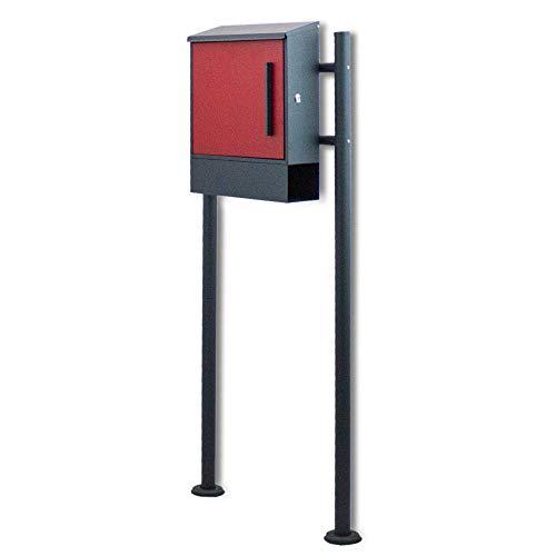 BITUXX® Freistehender Standbriefkasten Briefkastenanlage Seitenschloss und Zeitungsfach unten Dunkelgrau/Rot - 2