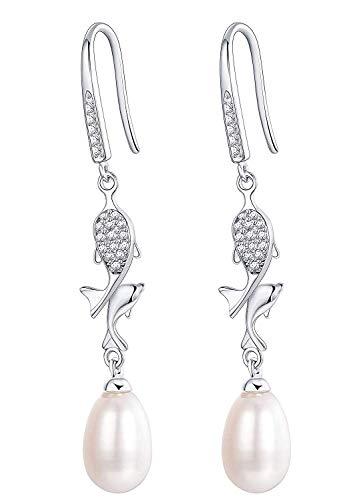 90f21867ba92 Finrezio 925 Sterling Silver Pearl Dolphin Pendientes De Gota Para Mujeres  Perlas De Agua Dulce Cultivadas