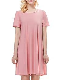 HomRain Mujeres Verano Suelto Casual Cuello Redondo Mangas Cortas Camiseta Vestido
