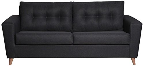 CANAPES TISSUS Helsinki Canapé Scandinave Convertible, Chenille, Anthracite, 186 x 98 x 75 cm