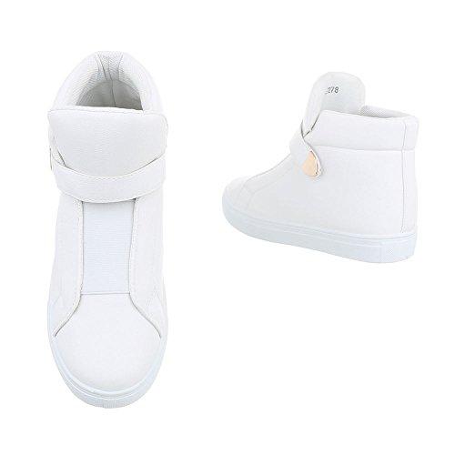 ... Sneakers Alte Scarpe Da Donna Sneakers Alte Velcro Scarpe Casual  Ital-design Bianche b56b261a689