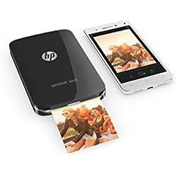 HP Sprocket Plus Imprimante Photo portable (Bluetooth, Impression Couleur sans Encre 5,8 x 8,6 cm) Noir