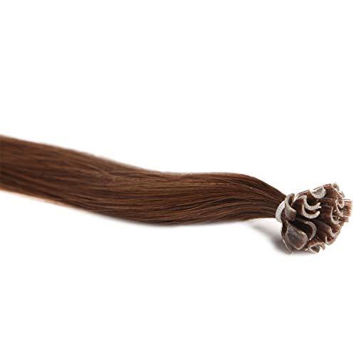 Extensions Cheveux Kératine 100 mèches indiennes 0,8gr Noisette 50cm