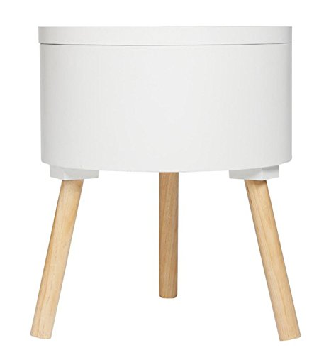 Table café avec coffre de rangement blanc - Dim : L38 x l38 x H45 cm -PEGANE-