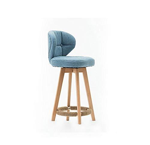 Qjifangyizi Hoher Hocker, Baumwolle und Leinen gepolstert Fußstütze Stuhl aus Holz drehbare Rückenlehne Frühstück Küche Heim Stühle (größe : Sitting Height 55cm)