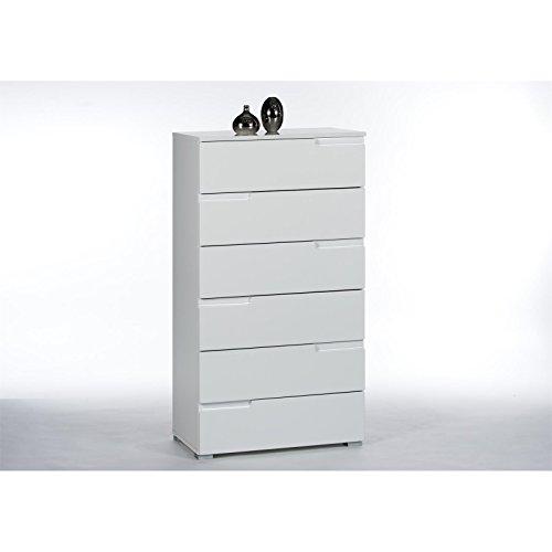 CARO-Möbel Schubladenkommode Kommode Highboard Mona, mit 6 Schubladen Hochglanz Weiß (Kommode Möbel Mit 6 Schubladen)